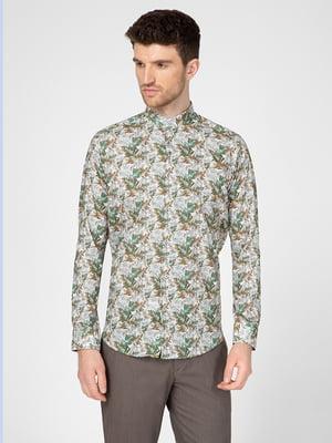 Рубашка зеленая в принт | 5598657