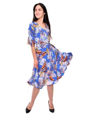 Платье бирюзовое в принт | 5599117