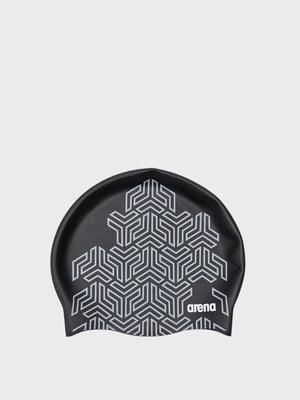 Шапка купальна чорно-сіра в принт | 5578724
