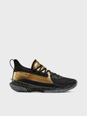 Кросівки чорно-золотистого кольору UA TB Curry 7 3023300-002 | 5602745