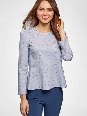 Блуза голубого цвета в принт | 5602990
