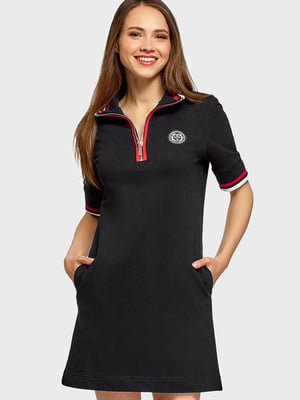 Сукня чорна з нашивкою | 5603039