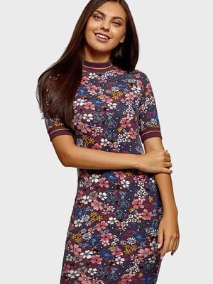 Платье бордовое в цветочный принт | 5603040