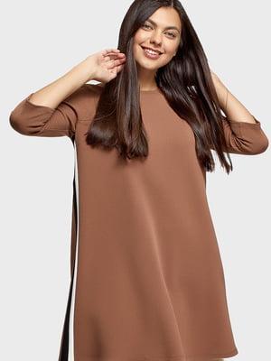 Платье коричневого цвета с лампасом | 5603044