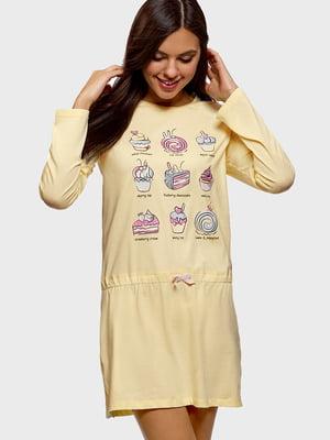 Сукня жовта в принт | 5603594
