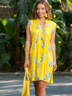 Туника пляжная желтая в цветочный принт   5601420