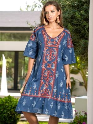 Сукня пляжна синя з орнаментом | 5601430