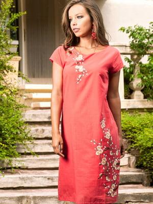 Сукня пляжна коралового кольору з вишивкою | 5601439
