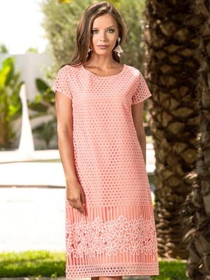 Сукня пляжна коралового кольору з візерунком | 5601443