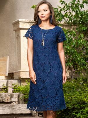 Сукня пляжна синя з квітковим візерунком | 5601448
