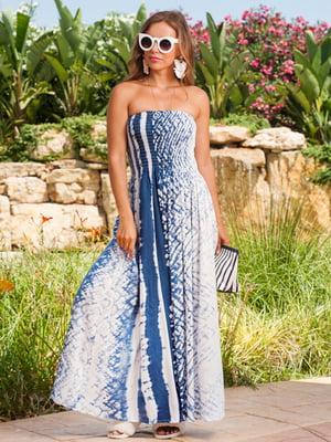Сукня пляжна синьо-біла в принт | 5601454