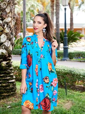 Туника пляжная голубого цвета в цветочный принт | 5601506