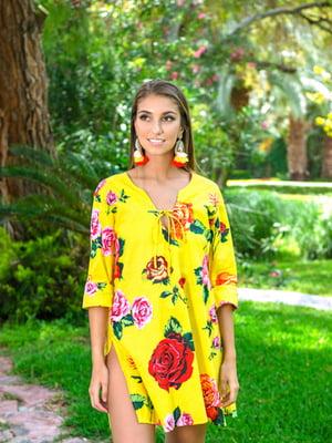Туника пляжная желтая в цветочный принт   5601519