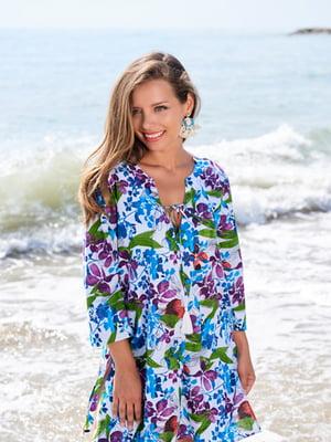 Туника пляжная в цветочный принт | 5601522