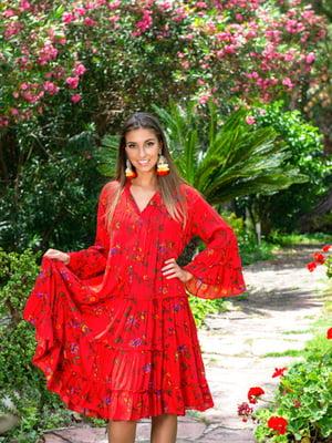Туника пляжная красного цвета в цветочный принт | 5601581
