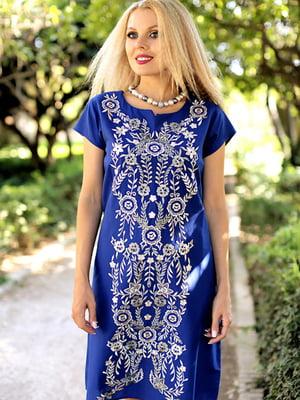 Платье пляжное синее с цветочным орнаментом | 5601589