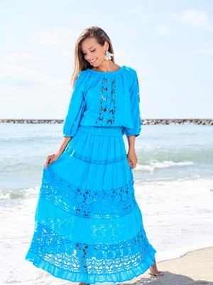 Спідниця пляжна блакитного кольору | 5601336