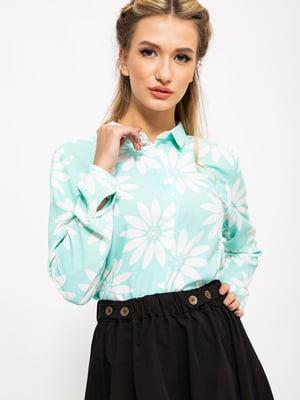Блуза мятного цвета в принт | 5604074