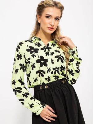 Блуза желтая в принт | 5604075