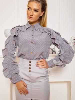 Блуза серая в горошек | 5604125