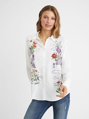 Сорочка біла з квітковим принтом | 5604502