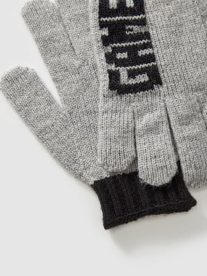Перчатки серые с принтом | 5605076