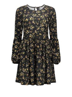 Сукня чорна у принт | 5604593