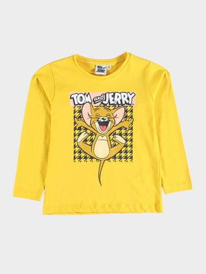 Лонгслив желтый с принтом | 5604609