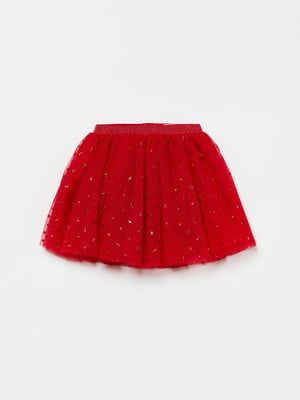 Юбка красного цвета с декором | 5605140