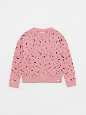 Свитшот розовый в принт | 5605164