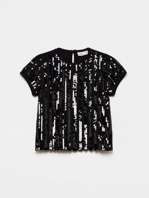 Блуза чорна з декором-блискітками | 5605169