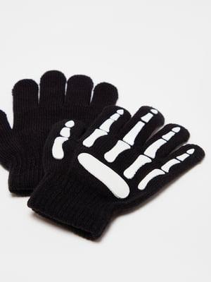 Перчатки черные с рисунком | 5605202