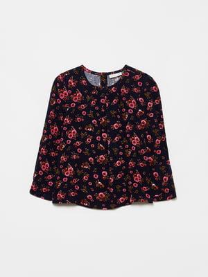 Блуза темно-синяя в цветочный принт | 5605316
