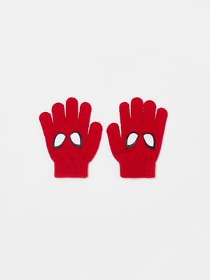 Перчатки красного цвета с рисунком | 5595402