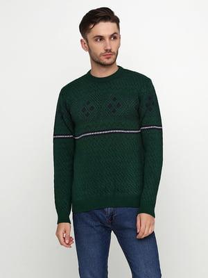 Джемпер зеленый с орнаментом | 5607420