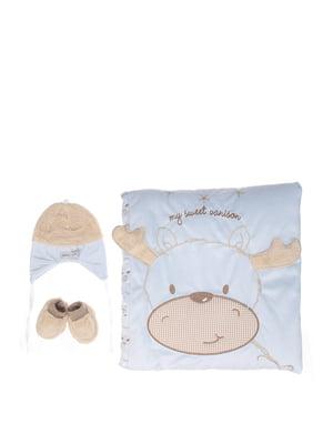 Комплект: плед-конверт, шапочка і пінетки | 5608229