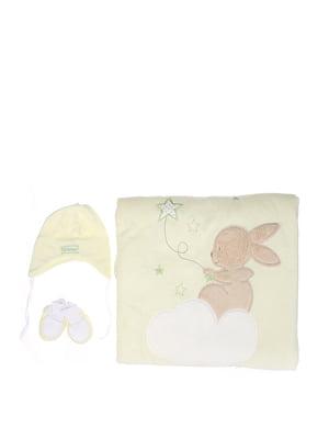 Комплект: плед-конверт, шапочка і пінетки | 5608230