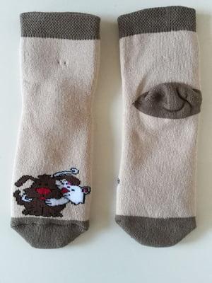 Шкарпетки бежеві з принтом | 5608237