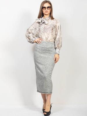 Блуза сіра в принт | 5608590