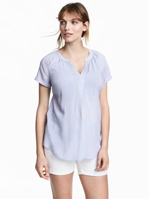Рубашка для беременных бело-голубого цвета в полоску   5608740