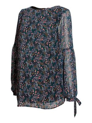 Блуза для беременных синяя в цветочный принт   5608807
