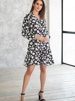 Сукня чорна в квітковий принт | 5609051