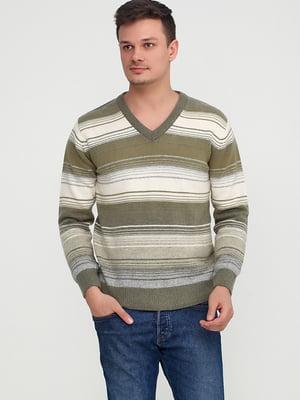 Пуловер оливкового кольору в смужку | 5610296