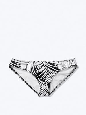 Трусы купальные черно-белые в принт | 5610413