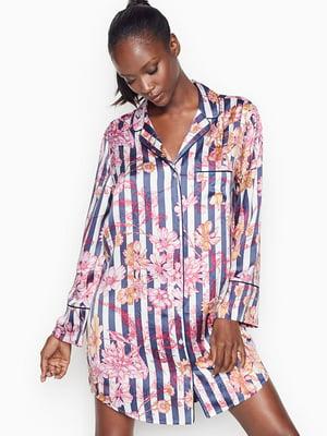 Рубашка пижамная в полоску и цветочный принт | 5610590