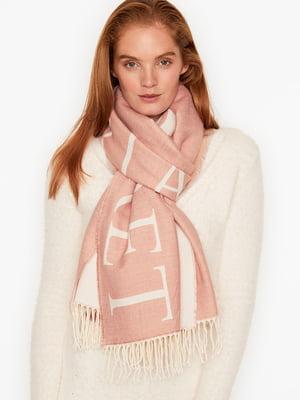 Шарф рожевого кольору з принтом-логотипом | 5610630