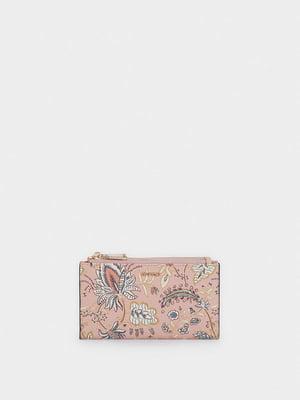 Гаманець рожевий в принт | 5610188