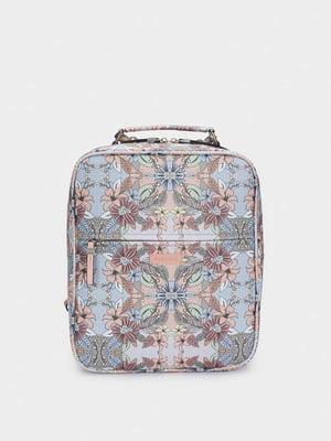 Сумка-рюкзак різнобарвна в квітковий принт | 5610278