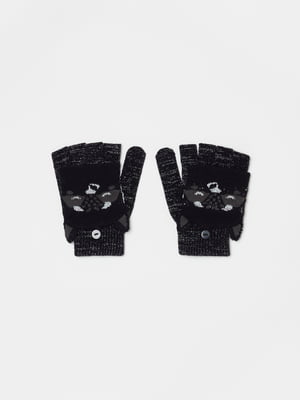 Рукавички чорні з принтом | 5605365
