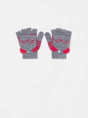 Перчатки разноцветные с принтом | 5605363